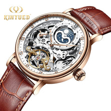 Load image into Gallery viewer, KINYUED Skeleton Watches Mechanical Automatic Watch Men Tourbillon Sport Clock Casual Business Moon Wrist Watch Relojes Hombre