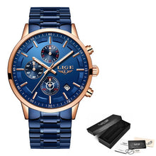 Load image into Gallery viewer, LIGE 2019 Fashion Blue Mens Watches Top Brand Luxury Male Stainless Steel Sports Chronograph Quartz Watch Men Relogio Masculino