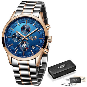 LIGE 2019 Fashion Blue Mens Watches Top Brand Luxury Male Stainless Steel Sports Chronograph Quartz Watch Men Relogio Masculino