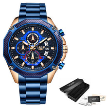 Load image into Gallery viewer, LIGE 2019 New Fashion Mens Watches with Stainless Steel Top Brand Luxury Sports Chronograph Quartz Watch Men Relogio Masculino