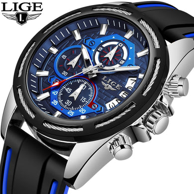 LIGE Fashion Mens Watches Top Luxury Brand Unique Sports Watch Men's Quartz Date Clock Waterproof Chronograph Relogio Masculino