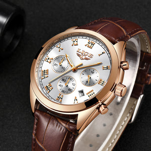 LIGE Mens Watches Top Brand Luxury Waterproof 24 hour Date Quartz Watch Man Leather Sport Wrist Watch Men Waterproof Clock 2018