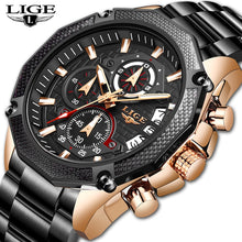 Load image into Gallery viewer, LIGE New Men Watches Top Brand Luxury Stainless Steel Date Chronograph Male Quartz Watch Mens Casual Sport Waterproof Watch 2019