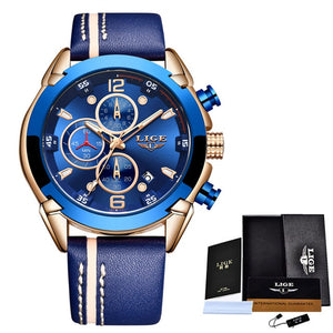 LIGE New Mens Watches Top Brand Luxury Blue Creative Quartz Watch 2019 Chronograph Waterproof Men Watch Blue Leather Wristwatch