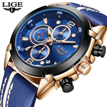 Load image into Gallery viewer, LIGE New Mens Watches Top Brand Luxury Blue Creative Quartz Watch 2019 Chronograph Waterproof Men Watch Blue Leather Wristwatch