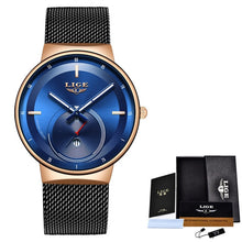 Load image into Gallery viewer, LIGE New Mens Watches Top Brand Luxury Fashion Business Quartz Watch Men Simple Waterproof ClockVariety of styles reloj hombre