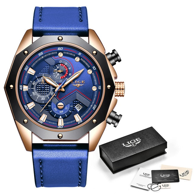LIGE New Mens Watches Top Brand Luxury Quartz Blue Watch Men Leather Military Waterproof Sport Wristwatch Relogio Masculino 2019