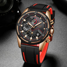 Load image into Gallery viewer, LIGE New Watch For Men Fashion Sport Quartz Clock Top Brand Luxury Silica gel Mens Watches Waterproof Watch Relogio Masculino