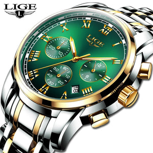 LIGE Top Brand Luxury Mens Watches Fashion Stainless Steel Chronograph Male Quartz Watchwrist Mens Casual Waterproof Sport Watch