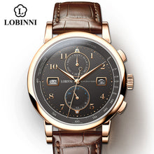 Load image into Gallery viewer, LOBINNI Business Watch Top Brand Luxury Fashion Man Leather Waterproof 50M Male Mechanical Wristwatch with Date Display Watches
