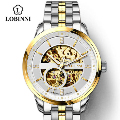LOBINNI Japan MIYOTA Movement Watch Men  Automatic Mechanical Watch Luxury Watch Transparent Skeleton Mens Watch Seagull Watch