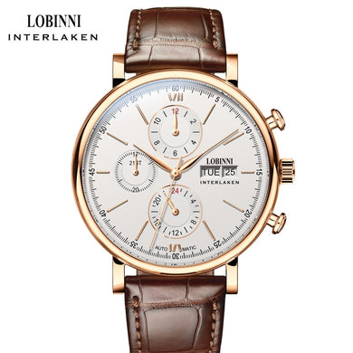 LOBINNI Luxury Brand Mechanical Watch Men Automatic Men's Watches 50m Waterproof  Male Clock Man Sapphire 24hours montre homme
