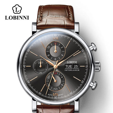 LOBINNI Luxury Mechanical Gear Watch Men gift Seagull Movement Automatic black self winder Sapphire Watch Brand Men Metal Bezel