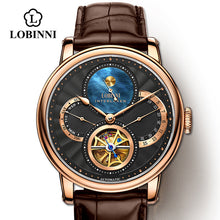 Load image into Gallery viewer, LOBINNI Rome dial watches mens 2019 relogio masculino Automatic gear Mechanical Brands steel orologio Leather Cost wrist watch
