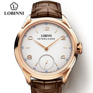 LOBINNI Seagull Mechanical Hand Wind Movement Masculinity Watches Luxury Switzerland Brand Man Waterproof Watch Male Wristwatch