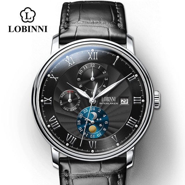 LOBINNI Seagull Movement Watch Men Automatic Mechanical Men Watches Switzerland Luxury Brand Leather Male Skeleton Watches
