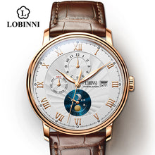 Load image into Gallery viewer, LOBINNI Seagull Movement Watch Men Automatic Mechanical Men Watches Switzerland Luxury Brand Leather Male Skeleton Watches
