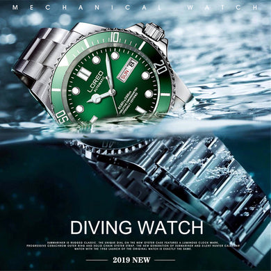 LOREO Sports Diving Series 200M Waterproof Mechanical Watch Men 316L Stainless steel Watches Luminous Seagull Automatic Watch