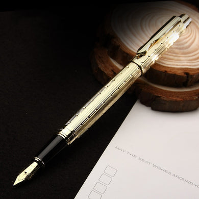 Luxury Band Fountain Pen Gold Silver Clip Optional High Quality Metal Writing Name Pens for Men Women Business Office Stationery