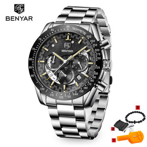Luxury Brand BENYAR Men's Watches Chronograph Steel Strap Sports Army Military Man Quartz Wrist watch Clock Relogio Masculino