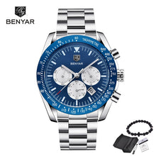 Load image into Gallery viewer, Luxury Brand BENYAR Men's Watches Chronograph Steel Strap Sports Army Military Man Quartz Wrist watch Clock Relogio Masculino