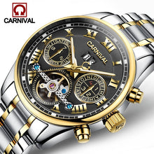Load image into Gallery viewer, Luxury Carnival Brand Watch Men Luminous Tourbillon Automatic Mechanical Watches Waterproof Men'S Full Steel Clock Sapphire 2017