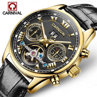 Luxury Carnival Brand Watch Men Luminous Tourbillon Automatic Mechanical Watches Waterproof Men'S Full Steel Clock Sapphire 2017