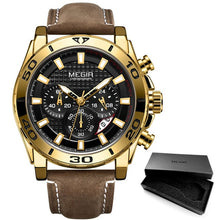 Load image into Gallery viewer, MEGIR Men's Army Sports Chronograph Quartz Watches Leather Strap Luminous Waterproof Wristwatch Man Relogios Clock 2094 Silver