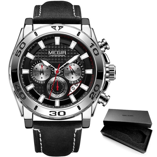 MEGIR Men's Army Sports Chronograph Quartz Watches Leather Strap Luminous Waterproof Wristwatch Man Relogios Clock 2094 Silver