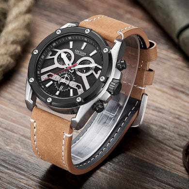 MEGIR New Fashion Mens Watches Top Brand Luxury Big Dial Military Quartz Watch Leather Waterproof Sport Chronograph Watch Men