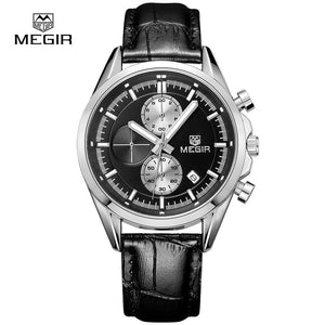 MEGIR new fashion military leather quartz watch men luxury luminous chronograph analog watch man wristwatch free shipping 5005