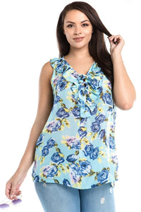 Women's Plus Size Sleeveless Floral Layered Tie