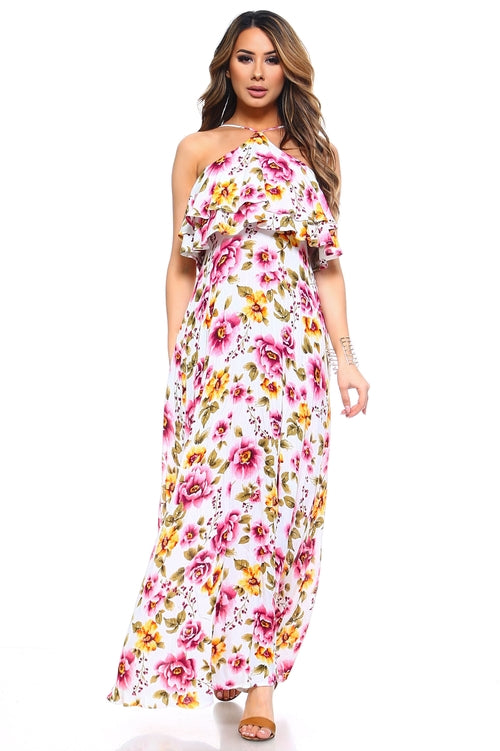 Women's Floral Layered Neck Tie Maxi Dress