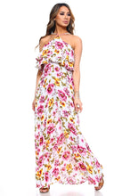 Load image into Gallery viewer, Women's Floral Layered Neck Tie Maxi Dress