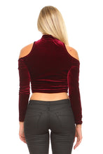 Load image into Gallery viewer, Women's Long Sleeve High Neck Cut Out Crop Top