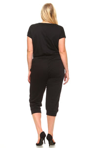 Women's Plus Size V-Neck T-shirt Jumpsuit