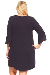 Women's Plus Size 3/4 Three Quarter Sleeve Crochet
