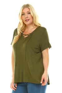 Women's Plus Size Lace Up Short Sleeve Top
