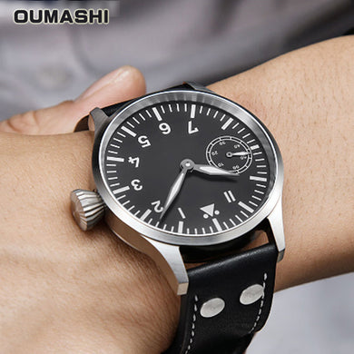 Mechanical  Watch Men 44mm OUMASHI Luxury Pilot Military Style Luminous Waterproof Business Seagull ST3600 Movement 6497