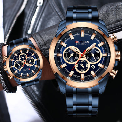 Men Watch CURREN Top Brand Luxury Sport Watches Men's Big Dial Blue Quartz Wristwatch Chronograph Male Clock Relogio Masculino