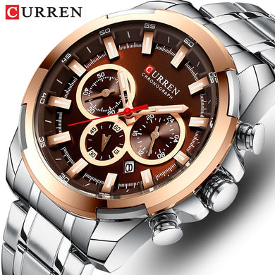 Men Watch Top Luxury Brand CURREN Fashion Causal Stainless Steel Men's Watches Sports Chronograph Quartz Wristwatches Male Clock
