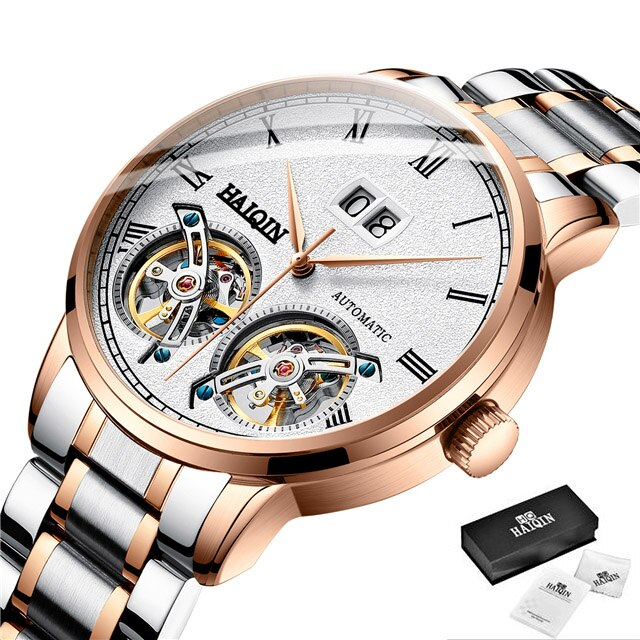 Men's Watches HAIQIN New Casual Fashion Automatic Machinery Wrist Watch Men Top Brand Luxury Tourbillon Clock Relogio Masculino