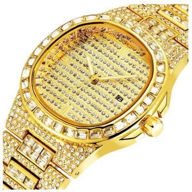 Men watches Hot Top Luxury Brand Full iced out Diamonds Gold Watch Men Quartz  steel casual watch  Wristwatch big dial