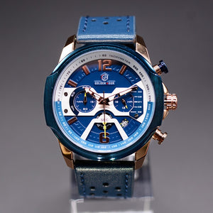 Mens Watches Top Brand Luxury Blue Quartz Men Watch Leather Chronograph Big Sport Wrist Watch Man Male Clock Relogio Masculino
