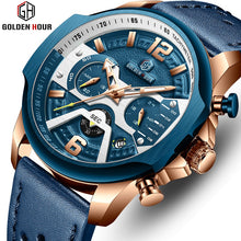 Load image into Gallery viewer, Mens Watches Top Brand Luxury Blue Quartz Men Watch Leather Chronograph Big Sport Wrist Watch Man Male Clock Relogio Masculino