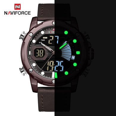 NAVIFORCE LED Display Watches For Men Quartz Wristwatches Male Top Luxury Brand Military Sports Chronograph Watch Man Gift +Box