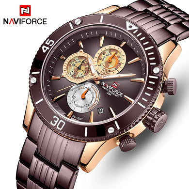 NAVIFORCE Men's Watches Top Brand Luxury Steel Quartz Men Wrist Watch Sports Chronograph Clock Male Analog Relogio Masculino
