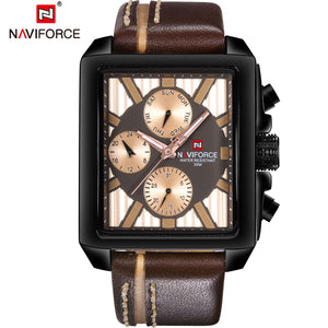 NAVIFORCE Mens Watches Top Brand Luxury Sport Military Men Watch Waterproof Leather Quartz Watch Rectangle Relogio Masculino