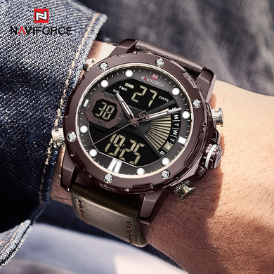 NAVIFORCE New Men Watches Top Brand Luxury Sport Quartz Watch Men Leather Waterproof Analog Digital Wristwatch Relogio Masculino