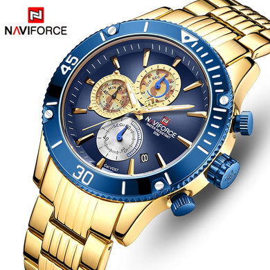NAVIFORCE Top Brand Luxury Men Watch Waterproof Sport Military Mens Wristwatch Full Steel Male Business Clock Relogio Masculino